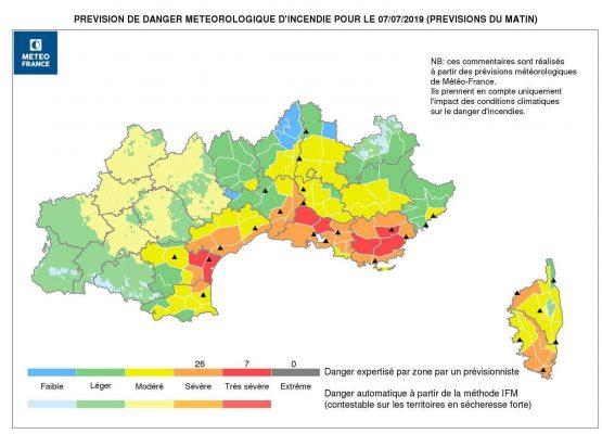 Etat des risques incendies feux de forêts des Alpes Maritimes 2019
